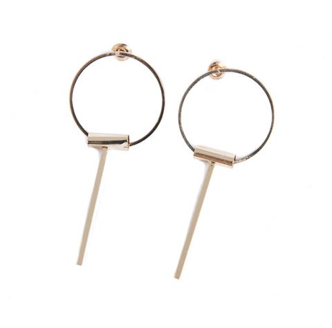 Hoop with single stick Earrings Gold