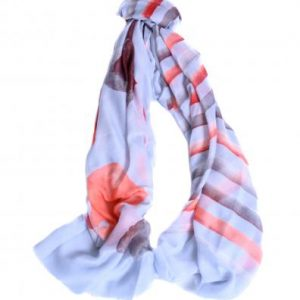 Blue stripe and floral scarf 25% off