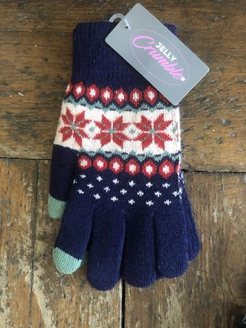 Fairisle Navy Glove