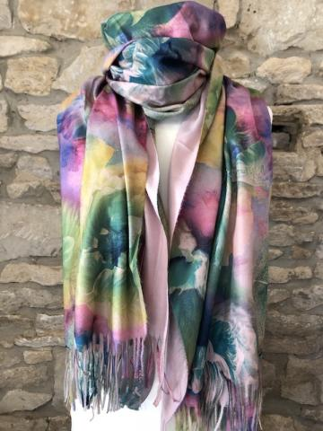 NEW floral watercolour reversible scarf Pink BEST SELLER