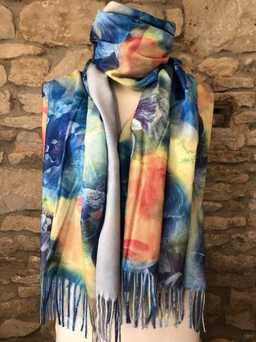 NEW floral watercolour reversible scarf blue BEST SELLER
