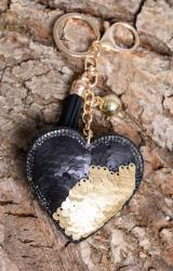 Sequine black and gold heart