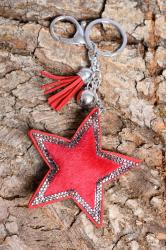 Faux fur red star keyring