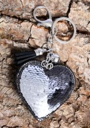 Sequine silver and black heart