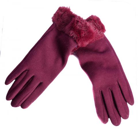 Burgundy faux fur cuff glove