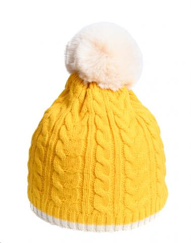 Cable knit mustard hat