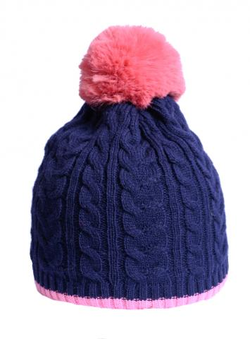 Cable knit navy/pint hat